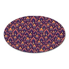 Abstract Background Floral Pattern Oval Magnet