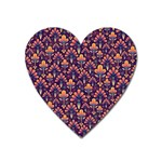 Abstract Background Floral Pattern Heart Magnet Front