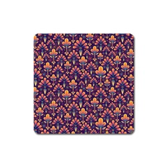 Abstract Background Floral Pattern Square Magnet