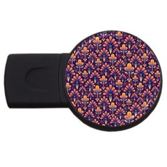 Abstract Background Floral Pattern USB Flash Drive Round (1 GB)