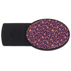 Abstract Background Floral Pattern Usb Flash Drive Oval (2 Gb)
