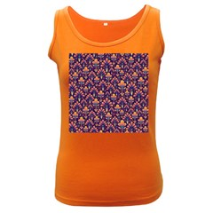 Abstract Background Floral Pattern Women s Dark Tank Top