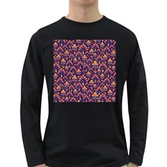 Abstract Background Floral Pattern Long Sleeve Dark T-Shirts