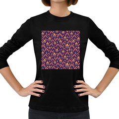 Abstract Background Floral Pattern Women s Long Sleeve Dark T Shirts