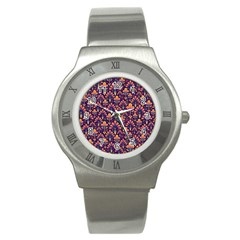 Abstract Background Floral Pattern Stainless Steel Watch