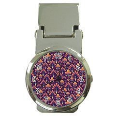 Abstract Background Floral Pattern Money Clip Watches