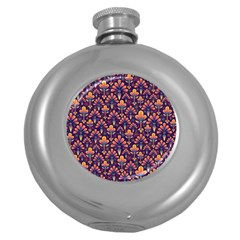 Abstract Background Floral Pattern Round Hip Flask (5 oz)