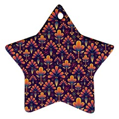 Abstract Background Floral Pattern Star Ornament (two Sides)
