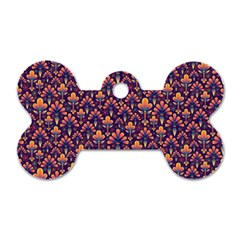 Abstract Background Floral Pattern Dog Tag Bone (Two Sides)
