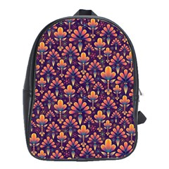 Abstract Background Floral Pattern School Bags(Large)