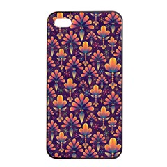 Abstract Background Floral Pattern Apple iPhone 4/4s Seamless Case (Black)