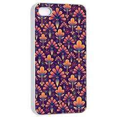Abstract Background Floral Pattern Apple iPhone 4/4s Seamless Case (White)
