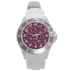 Abstract Background Floral Pattern Round Plastic Sport Watch (L)
