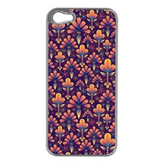 Abstract Background Floral Pattern Apple Iphone 5 Case (silver)