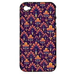Abstract Background Floral Pattern Apple iPhone 4/4S Hardshell Case (PC+Silicone)