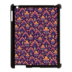 Abstract Background Floral Pattern Apple iPad 3/4 Case (Black)