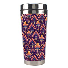 Abstract Background Floral Pattern Stainless Steel Travel Tumblers
