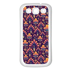 Abstract Background Floral Pattern Samsung Galaxy S3 Back Case (White)