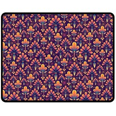 Abstract Background Floral Pattern Double Sided Fleece Blanket (medium)