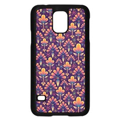 Abstract Background Floral Pattern Samsung Galaxy S5 Case (black)