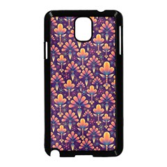 Abstract Background Floral Pattern Samsung Galaxy Note 3 Neo Hardshell Case (Black)