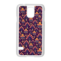 Abstract Background Floral Pattern Samsung Galaxy S5 Case (White)