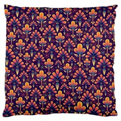 Abstract Background Floral Pattern Large Flano Cushion Case (Two Sides)