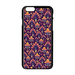 Abstract Background Floral Pattern Apple iPhone 6/6S Black Enamel Case