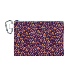 Abstract Background Floral Pattern Canvas Cosmetic Bag (M)