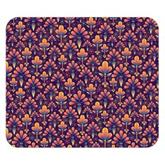 Abstract Background Floral Pattern Double Sided Flano Blanket (Small)