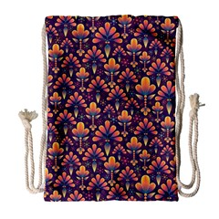 Abstract Background Floral Pattern Drawstring Bag (large)