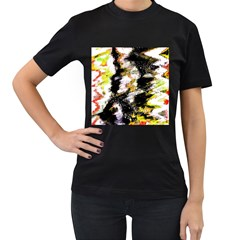 Canvas Acrylic Digital Design Women s T-Shirt (Black) (Two Sided)
