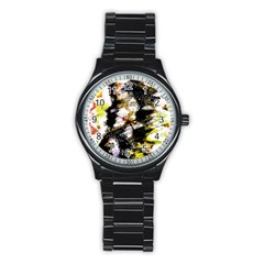 Canvas Acrylic Digital Design Stainless Steel Round Watch