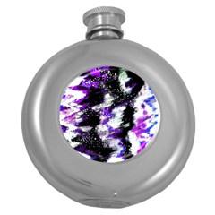 Canvas Acrylic Digital Design Round Hip Flask (5 oz)