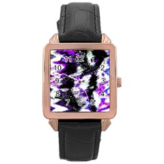 Canvas Acrylic Digital Design Rose Gold Leather Watch
