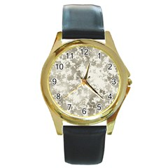 Wall Rock Pattern Structure Dirty Round Gold Metal Watch