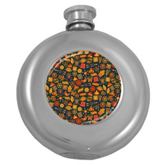 Pattern Background Ethnic Tribal Round Hip Flask (5 oz)