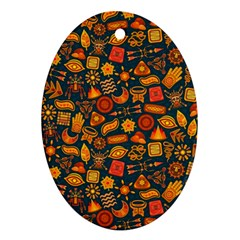 Pattern Background Ethnic Tribal Oval Ornament (Two Sides)