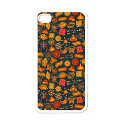 Pattern Background Ethnic Tribal Apple iPhone 4 Case (White)
