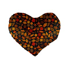 Pattern Background Ethnic Tribal Standard 16  Premium Heart Shape Cushions