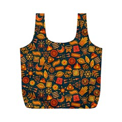 Pattern Background Ethnic Tribal Full Print Recycle Bags (M)