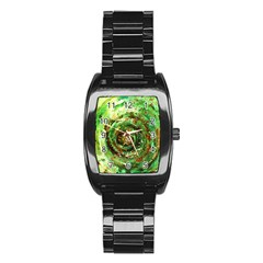 Canvas Acrylic Design Color Stainless Steel Barrel Watch