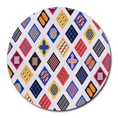 Plaid Triangle Sign Color Rainbow Round Mousepads