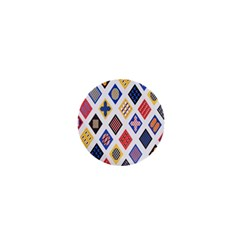 Plaid Triangle Sign Color Rainbow 1  Mini Buttons