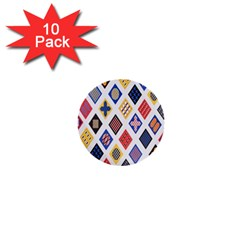 Plaid Triangle Sign Color Rainbow 1  Mini Buttons (10 pack)