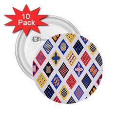 Plaid Triangle Sign Color Rainbow 2.25  Buttons (10 pack)