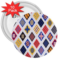Plaid Triangle Sign Color Rainbow 3  Buttons (10 pack)