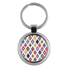 Plaid Triangle Sign Color Rainbow Key Chains (round)