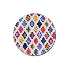 Plaid Triangle Sign Color Rainbow Rubber Round Coaster (4 pack)