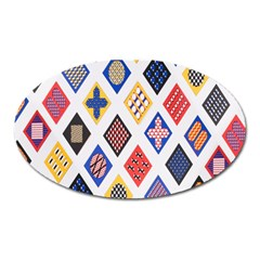 Plaid Triangle Sign Color Rainbow Oval Magnet